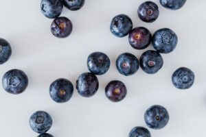fresh blueberry placed on white table